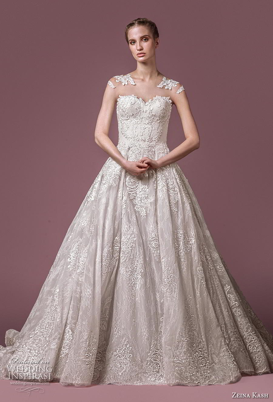 zeina kash 2018 bridal cap sleeves sweetheart neckline full embellishment elegant princess a  line wedding dress lace button back chapel train (3) mv