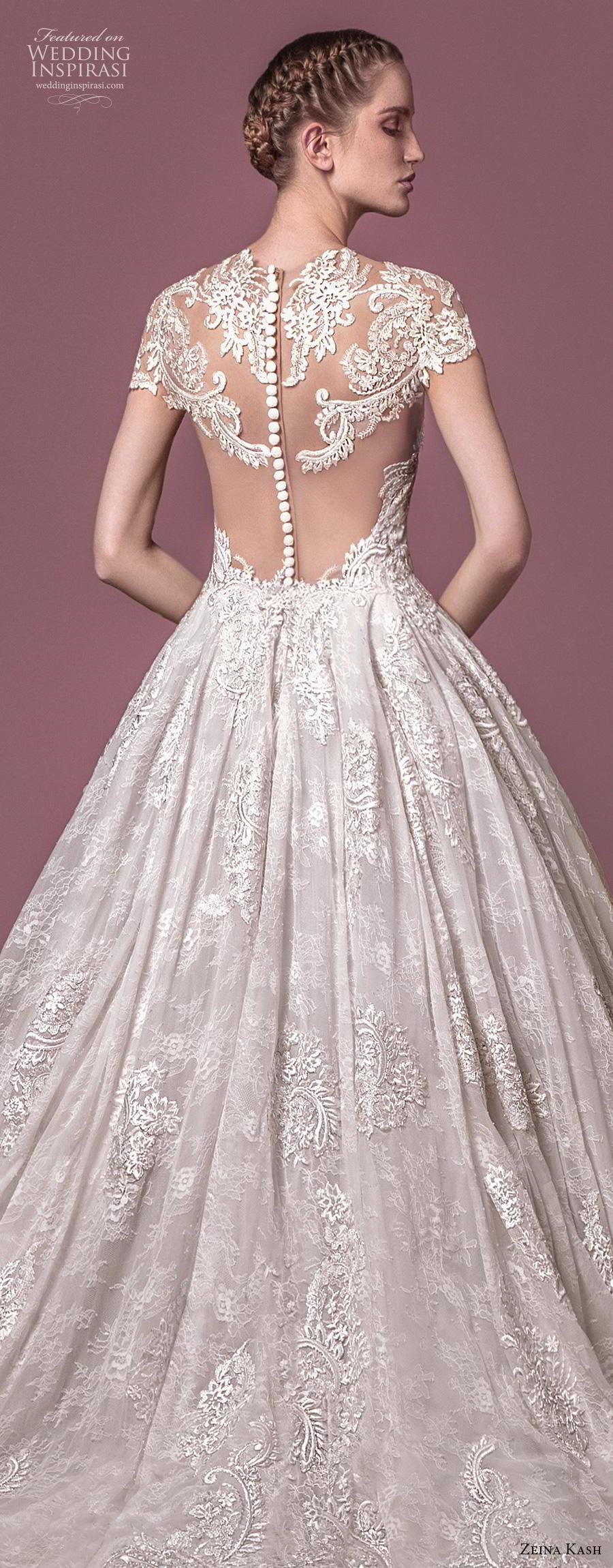 zeina kash 2018 bridal cap sleeves sweetheart neckline full embellishment elegant princess a  line wedding dress lace button back chapel train (3) zbv
