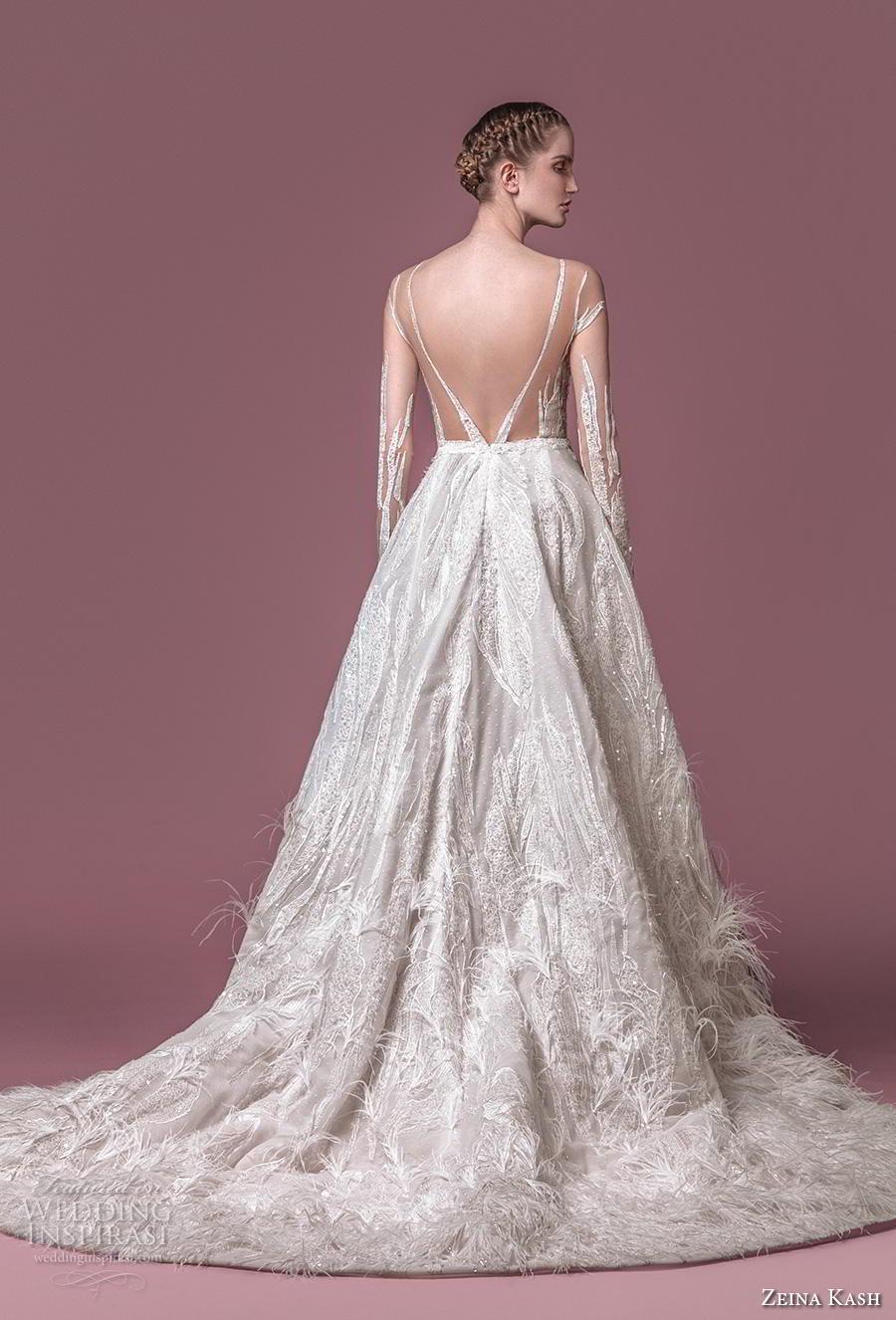 zeina kash 2018 bridal long sleeves illusion jewel full embellishment glitzy glamorous a  line wedding dress blackless open back chapel train (2) bv