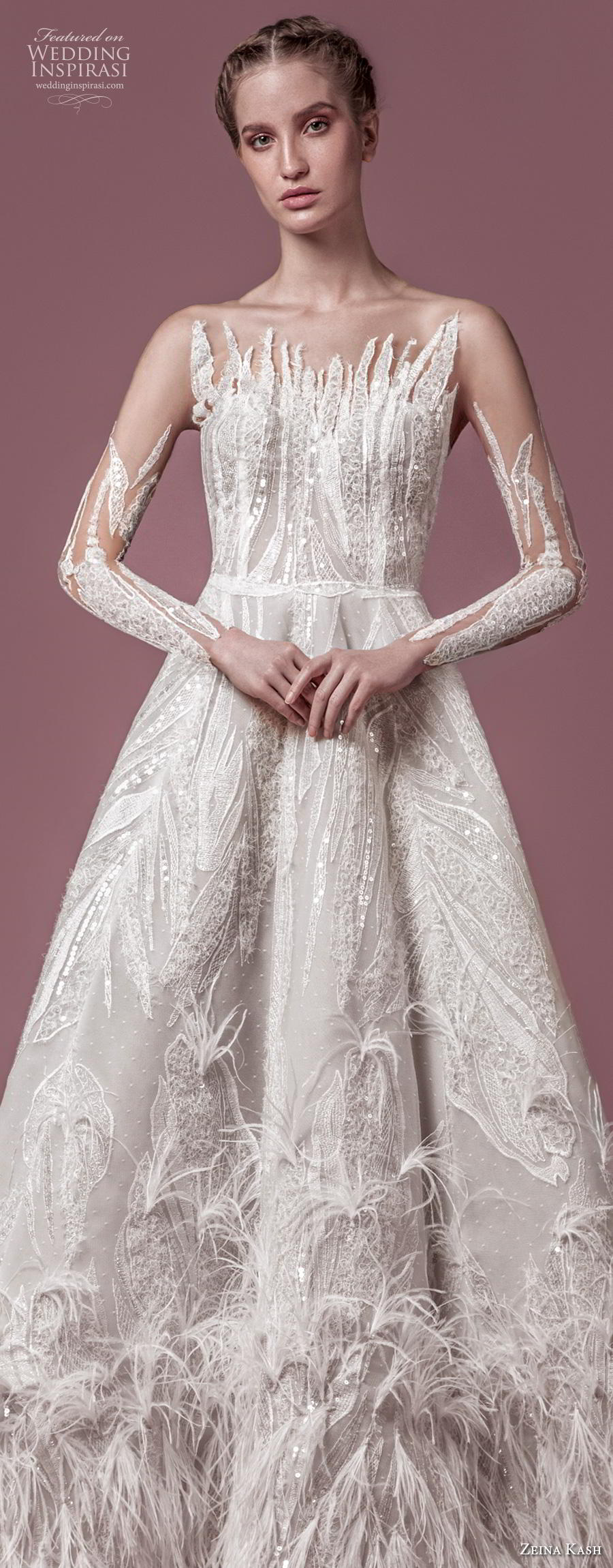 zeina kash 2018 bridal long sleeves illusion jewel full embellishment glitzy glamorous a  line wedding dress blackless open back chapel train (2) lv