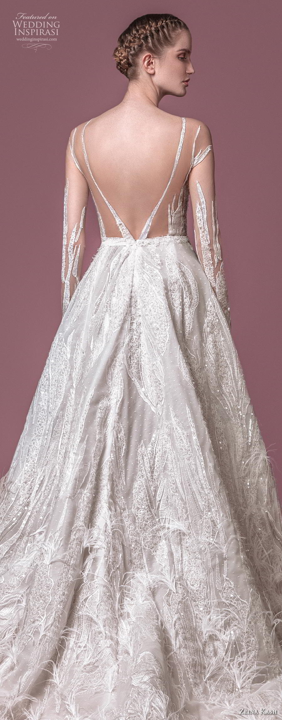 zeina kash 2018 bridal long sleeves illusion jewel full embellishment glitzy glamorous a  line wedding dress blackless open back chapel train (2) zbv
