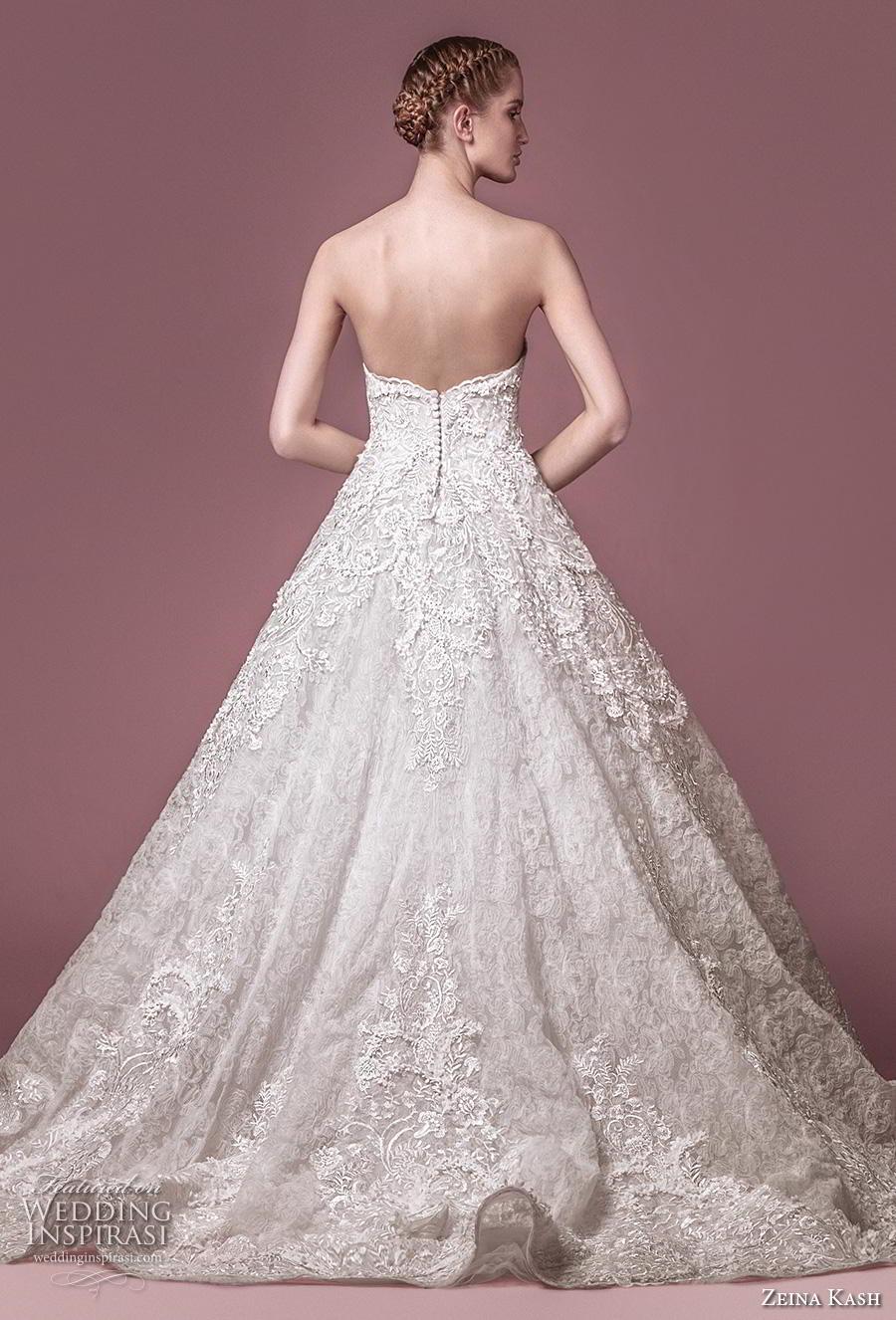 zeina kash 2018 bridal strapless sweetheart neckline full embellishment romantic princess a  line wedding dress mid back chapel train (4) bv