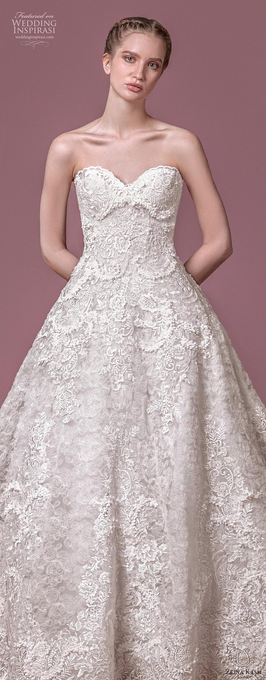 zeina kash 2018 bridal strapless sweetheart neckline full embellishment romantic princess a  line wedding dress mid back chapel train (4) lv