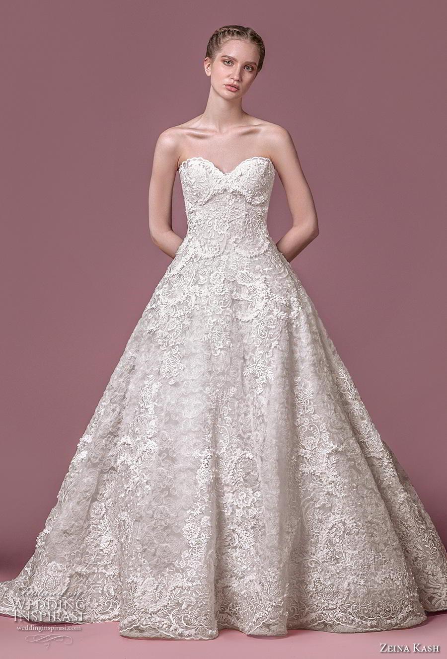 zeina kash 2018 bridal strapless sweetheart neckline full embellishment romantic princess a  line wedding dress mid back chapel train (4) mv