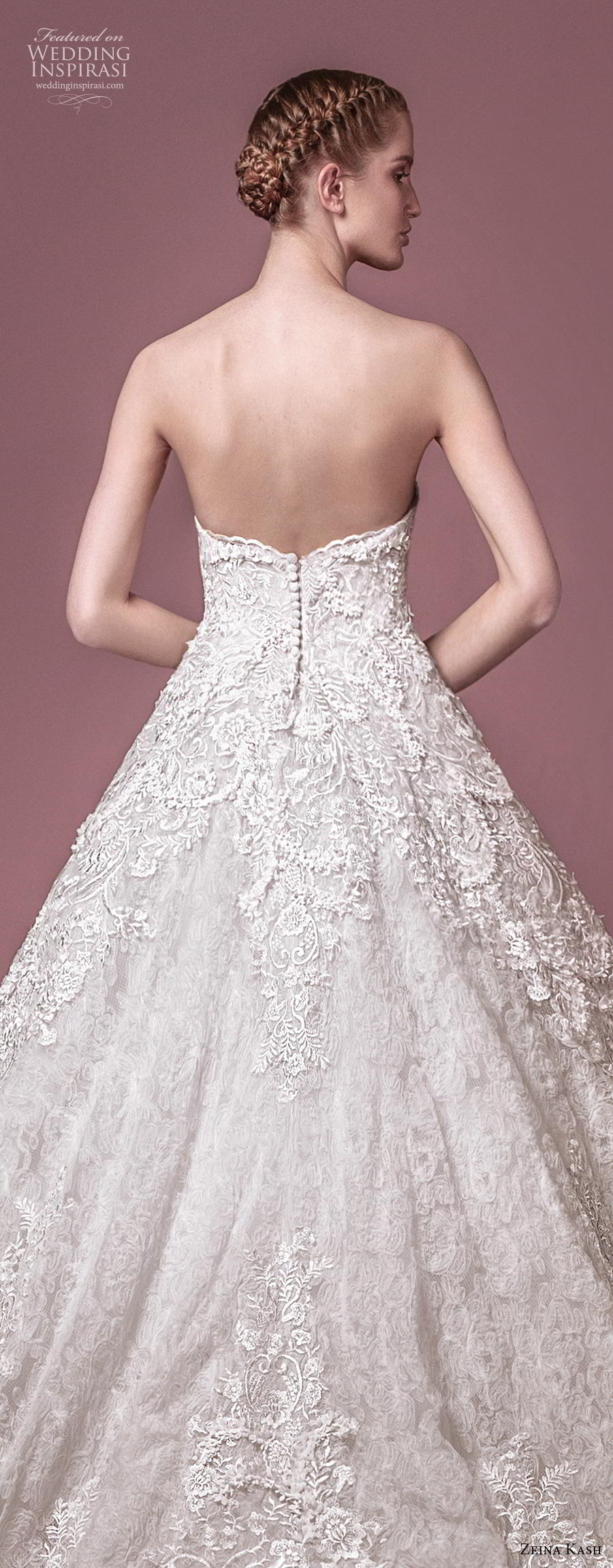 zeina kash 2018 bridal strapless sweetheart neckline full embellishment romantic princess a  line wedding dress mid back chapel train (4) zbv