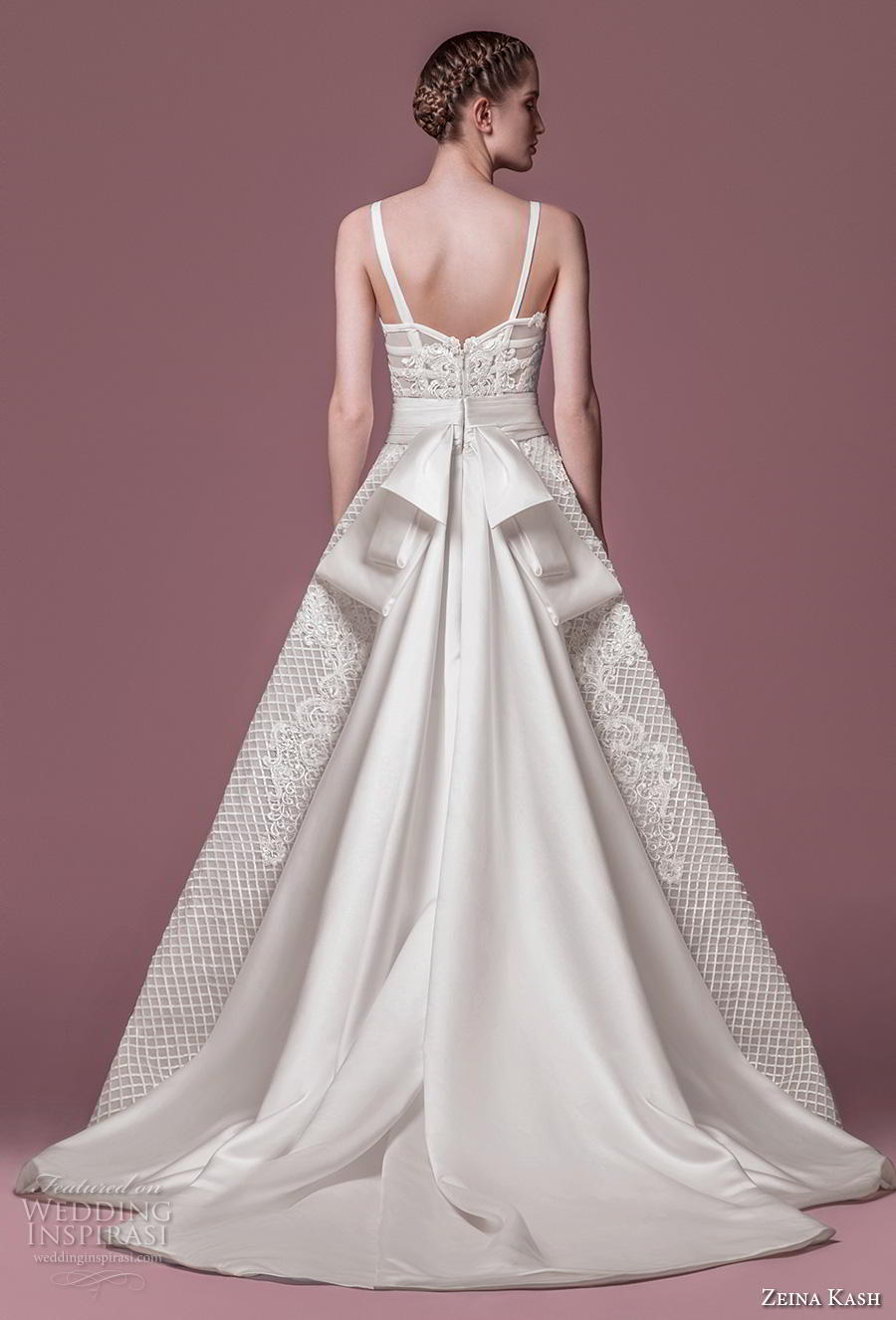 zeina kash 2018 bridal thin strap sweetheart neckline sweetheart neckline full embellishment bustier romantic a  line wedding dress chapel train (1) bv