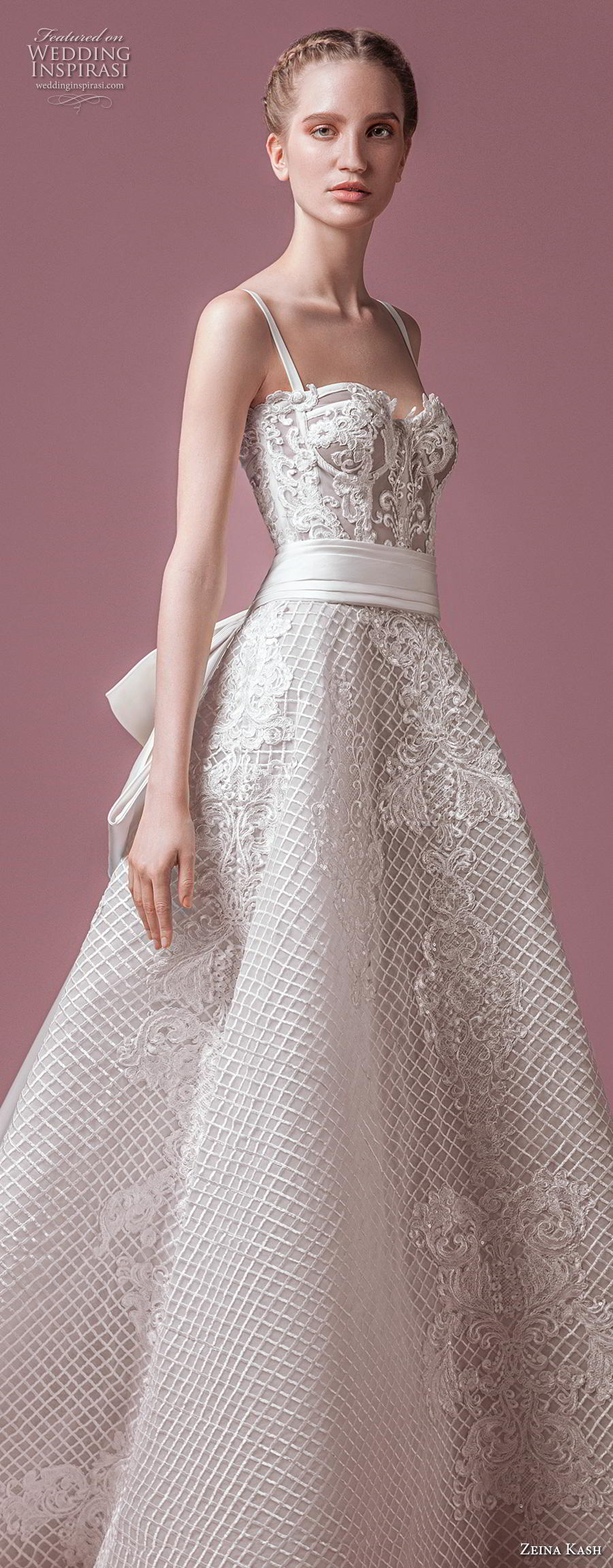 zeina kash 2018 bridal thin strap sweetheart neckline sweetheart neckline full embellishment bustier romantic a  line wedding dress chapel train (1) lv
