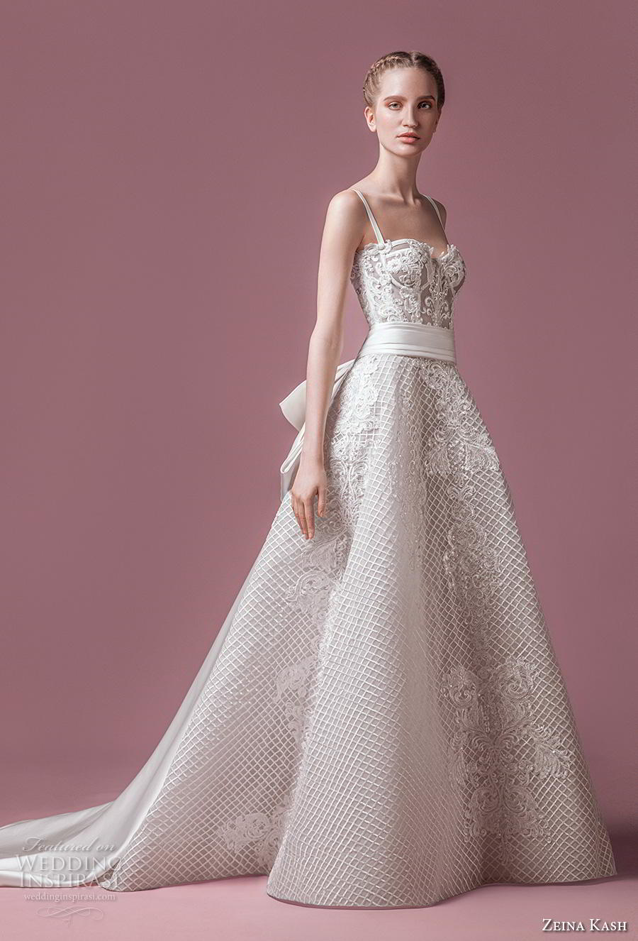 zeina kash 2018 bridal thin strap sweetheart neckline sweetheart neckline full embellishment bustier romantic a  line wedding dress chapel train (1) mv
