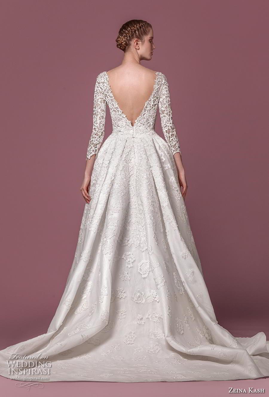 zeina kash 2018 bridal three quarter sleeves deep plunging v neck full embellishment elegant lace a  line wedding dress open v back chapel train (5) bv