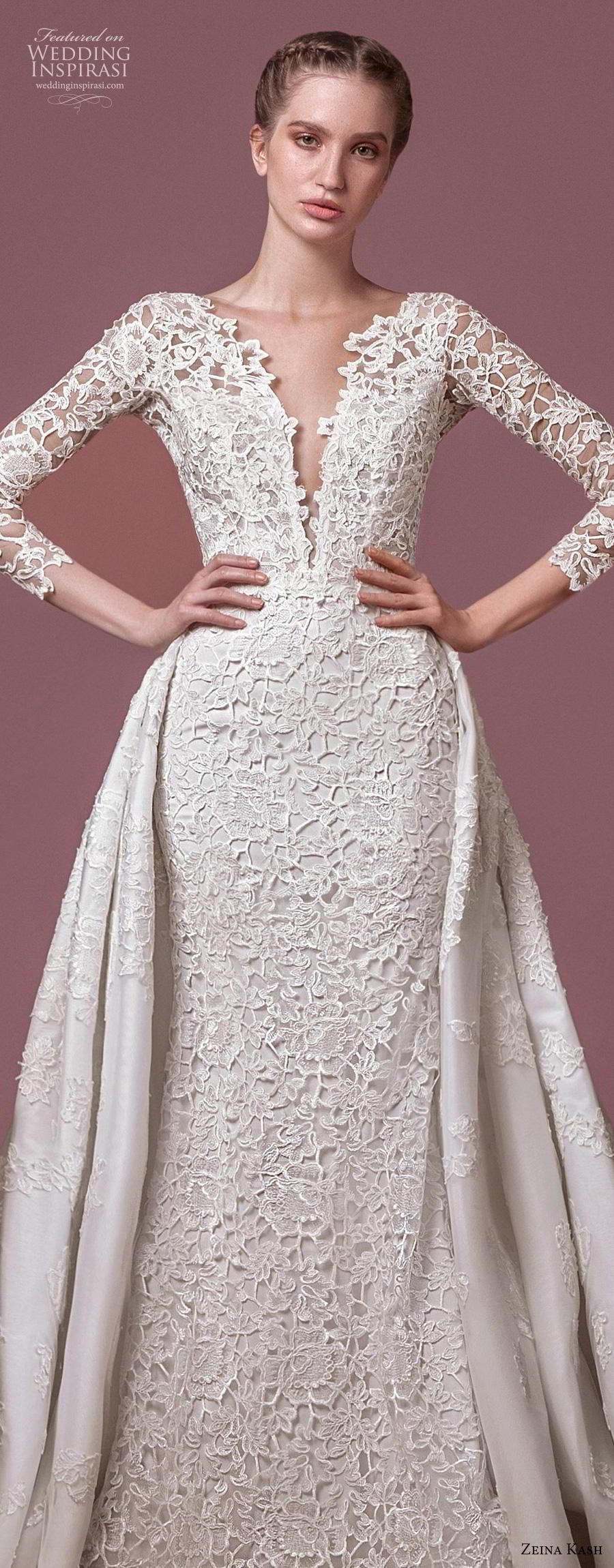 zeina kash 2018 bridal three quarter sleeves deep plunging v neck full embellishment elegant lace a  line wedding dress open v back chapel train (5) lv