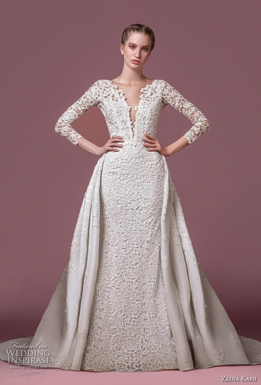 zeina kash 2018 bridal three quarter sleeves deep plunging v neck full embellishment elegant lace a  line wedding dress open v back chapel train (5) mv