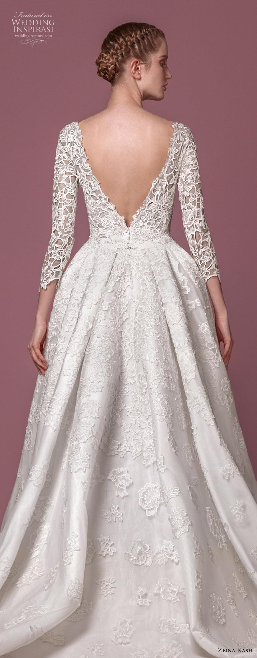 zeina kash 2018 bridal three quarter sleeves deep plunging v neck full embellishment elegant lace a  line wedding dress open v back chapel train (5) zbv