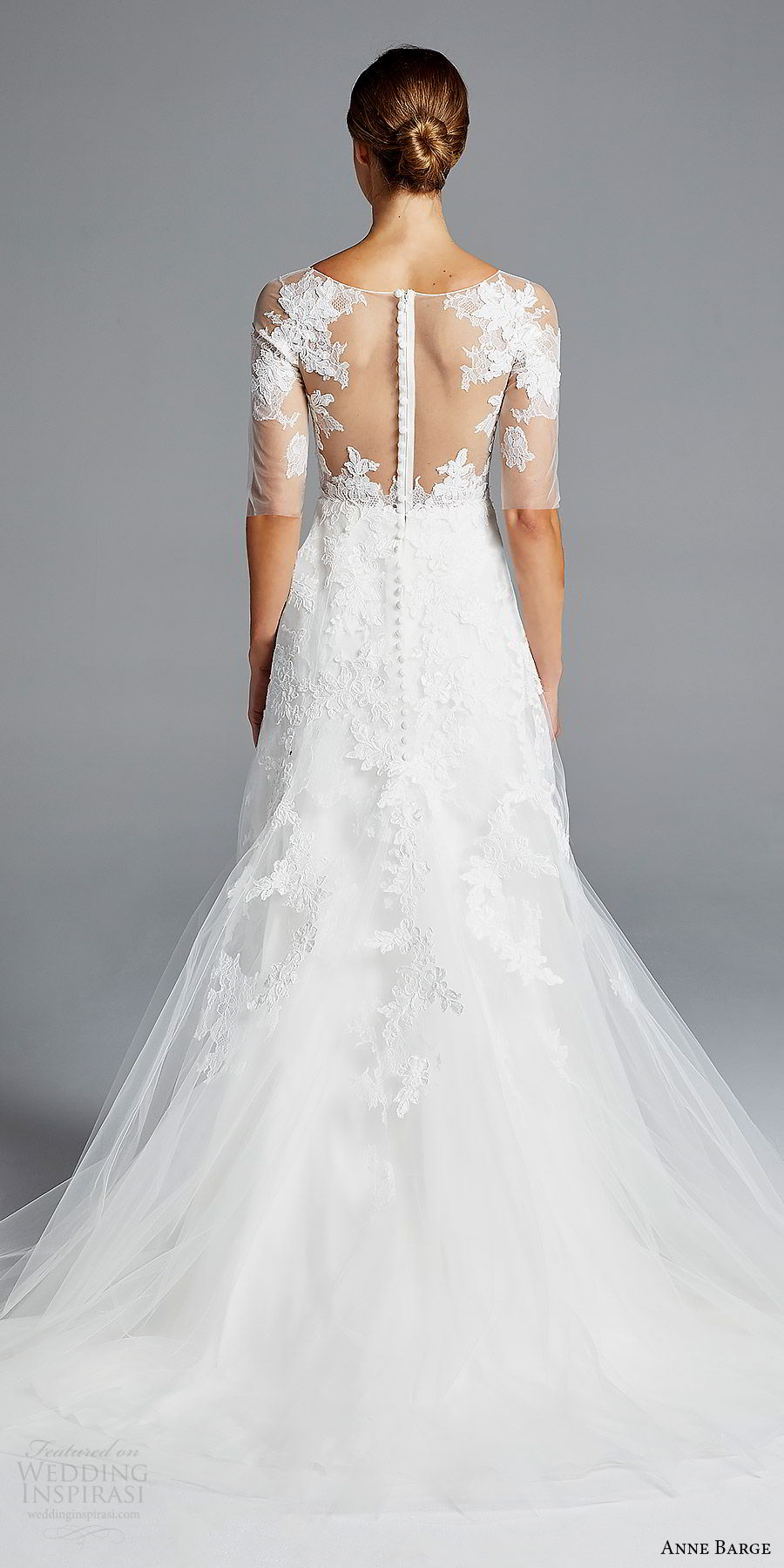 anne barge bridal spring 2019 3 quarter illusion sleeves sheer bateau neck sweetheart lace bodice a line wedding dress (rossallini) bv romantic elegant illusion back chapel train