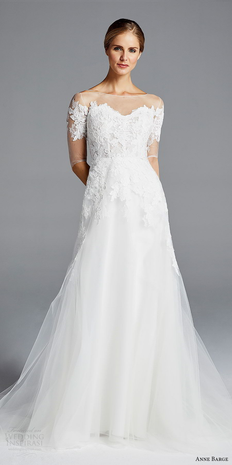 anne barge bridal spring 2019 3 quarter illusion sleeves sheer bateau neck sweetheart lace bodice a line wedding dress (rossallini) mv romantic elegant illusion back chapel train