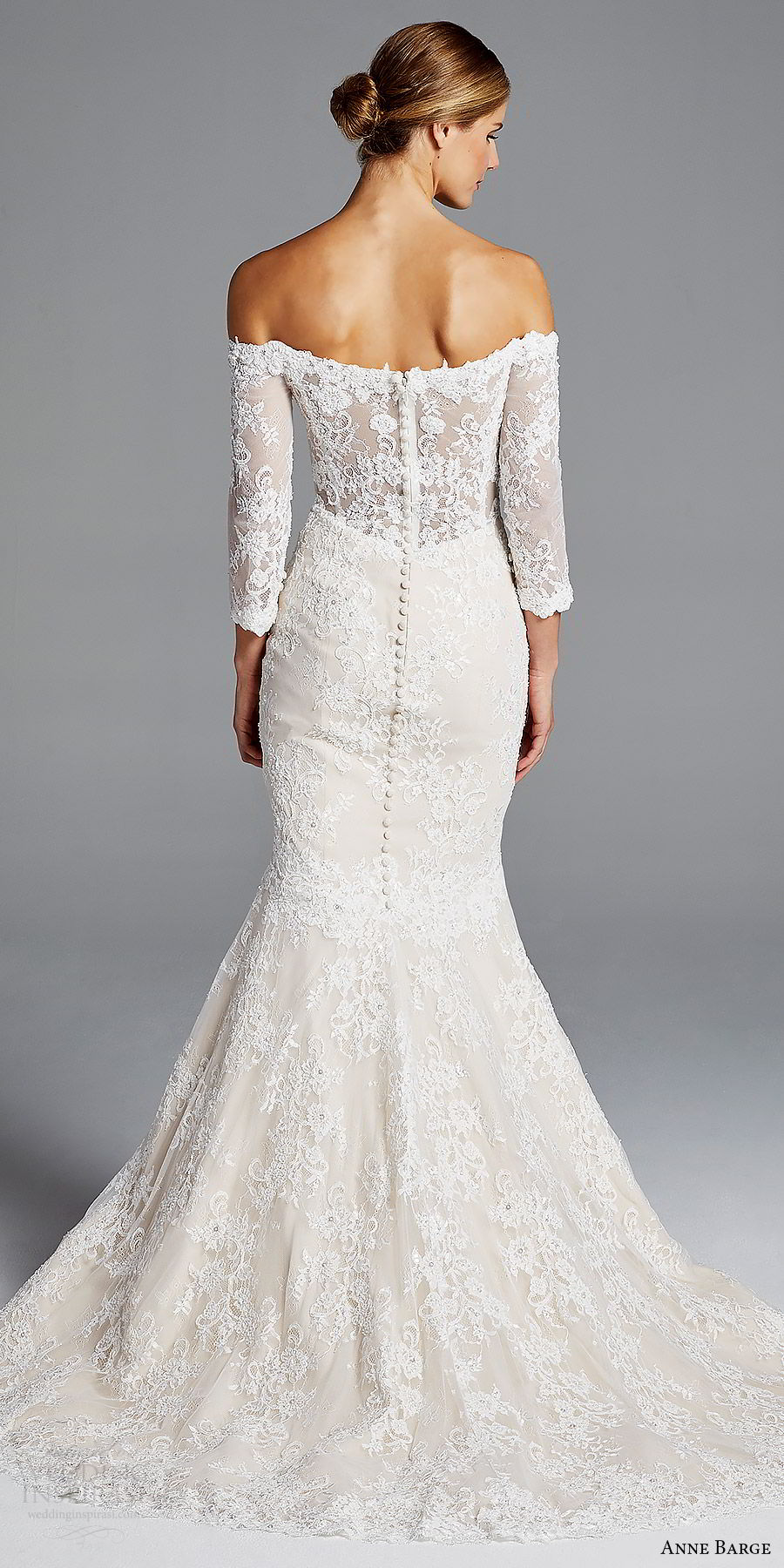 anne barge bridal spring 2019 3 quarter sleeves off shoulder illusion sweetheart lace mermaid wedding dress (loren) bv scoop back chapel train elegant romantic