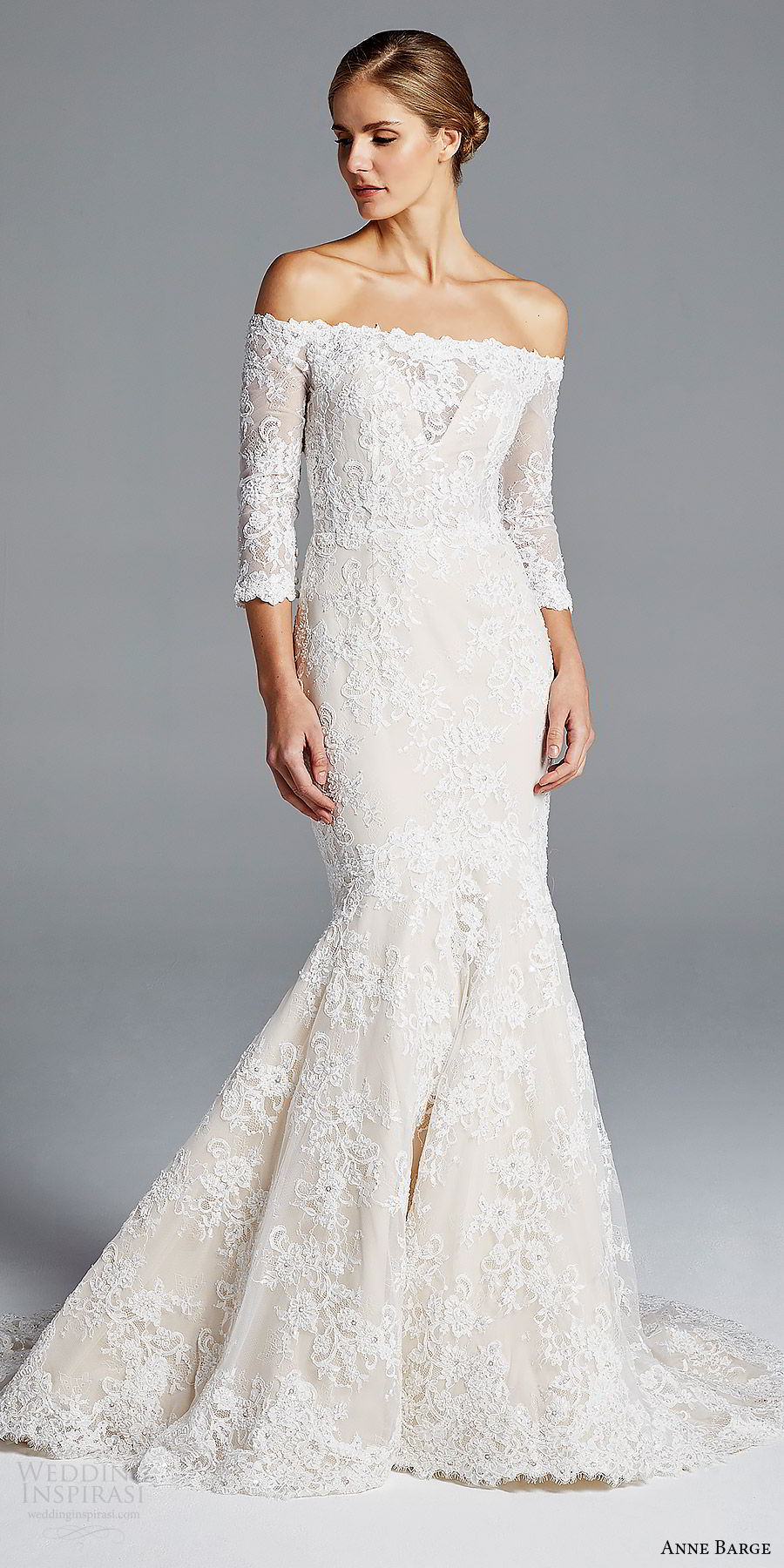 anne barge bridal spring 2019 3 quarter sleeves off shoulder illusion sweetheart lace mermaid wedding dress (loren) mv elegant romantic
