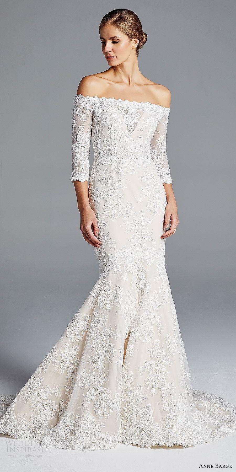 anne barge bridal spring 2019 3 quarter sleeves off shoulder illusion sweetheart lace mermaid wedding dress (loren) mv elegant romantic