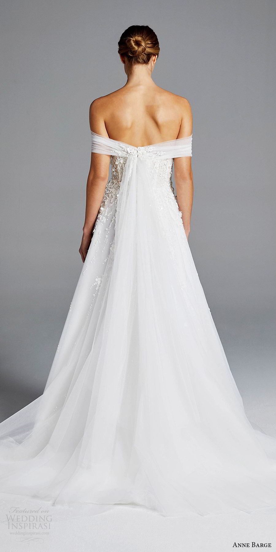 anne barge bridal spring 2019 off shoulder ruched straight cross beaded bodice a line wedding dress (karlie) bv elegant romantic