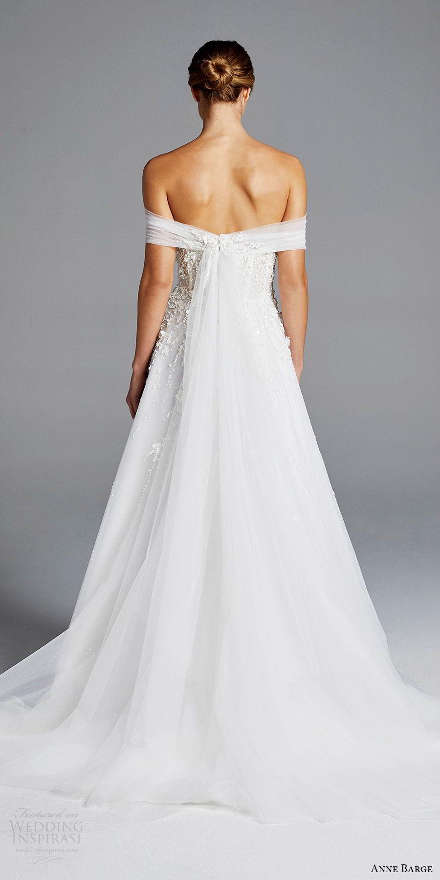 anne barge bridal spring 2019 off shoulder ruched straight cross beaded bodice a line wedding dress (karlie) bv elegant romantic