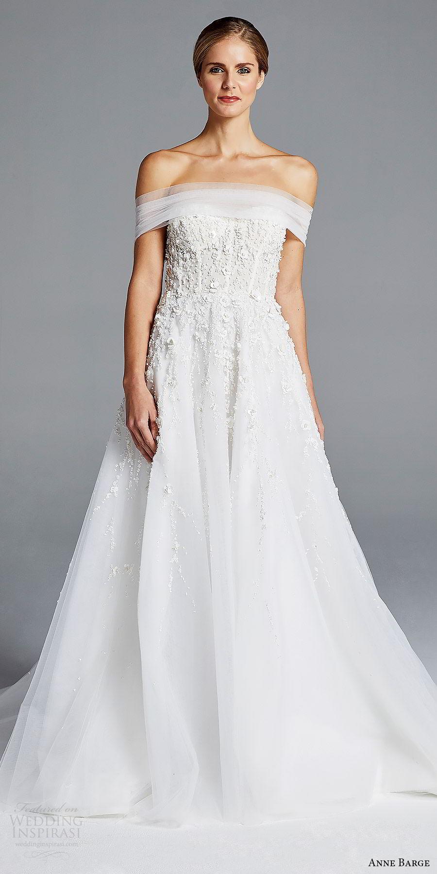 anne barge bridal spring 2019 off shoulder ruched straight cross beaded bodice a line wedding dress (karlie) mv elegant romantic