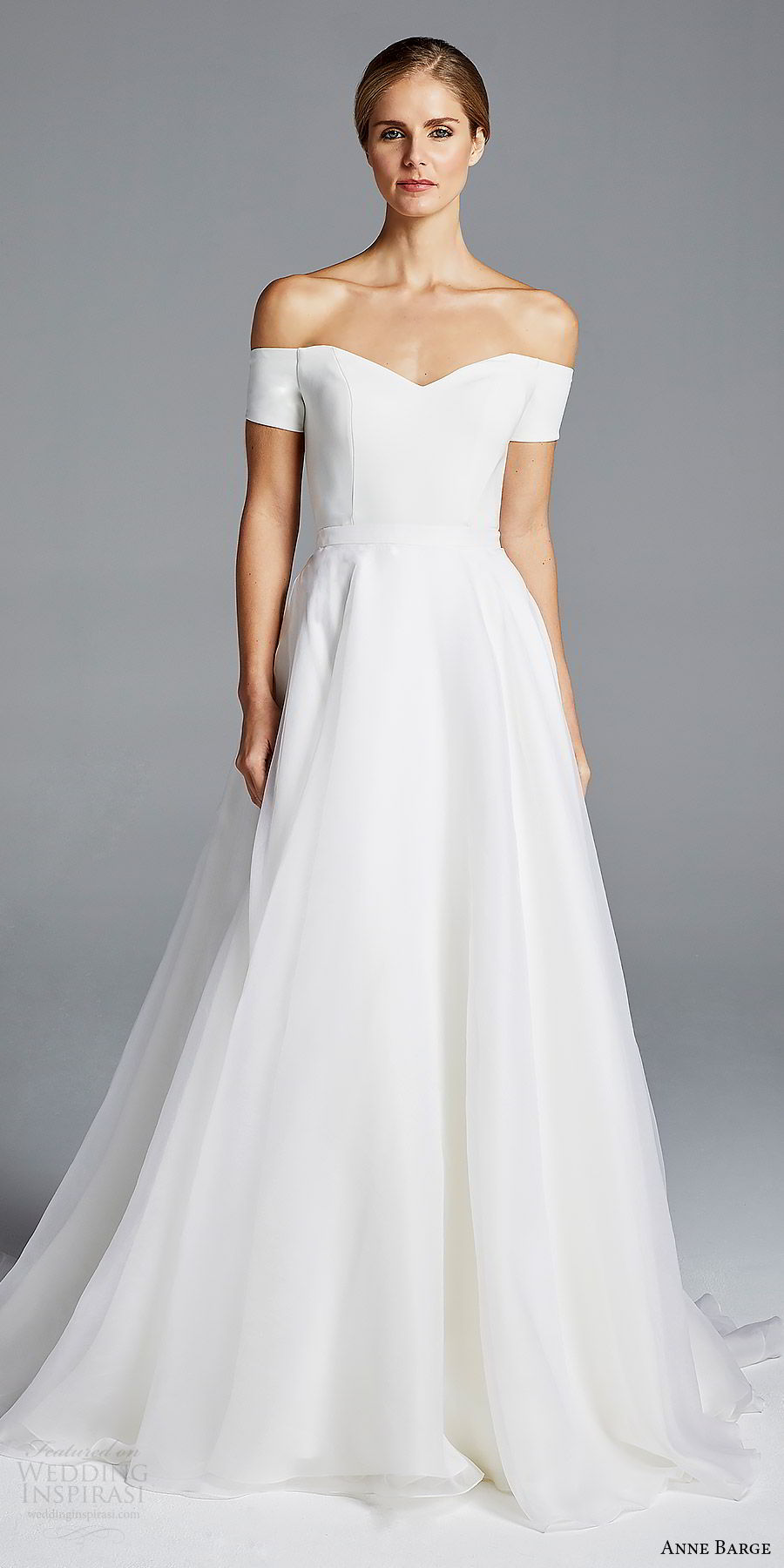 anne barge bridal spring 2019 off shoulder short sleeves sweetheart neckline minimally embellished sheath wedding dress a line overskirt (jolie) mv chic modern elegant