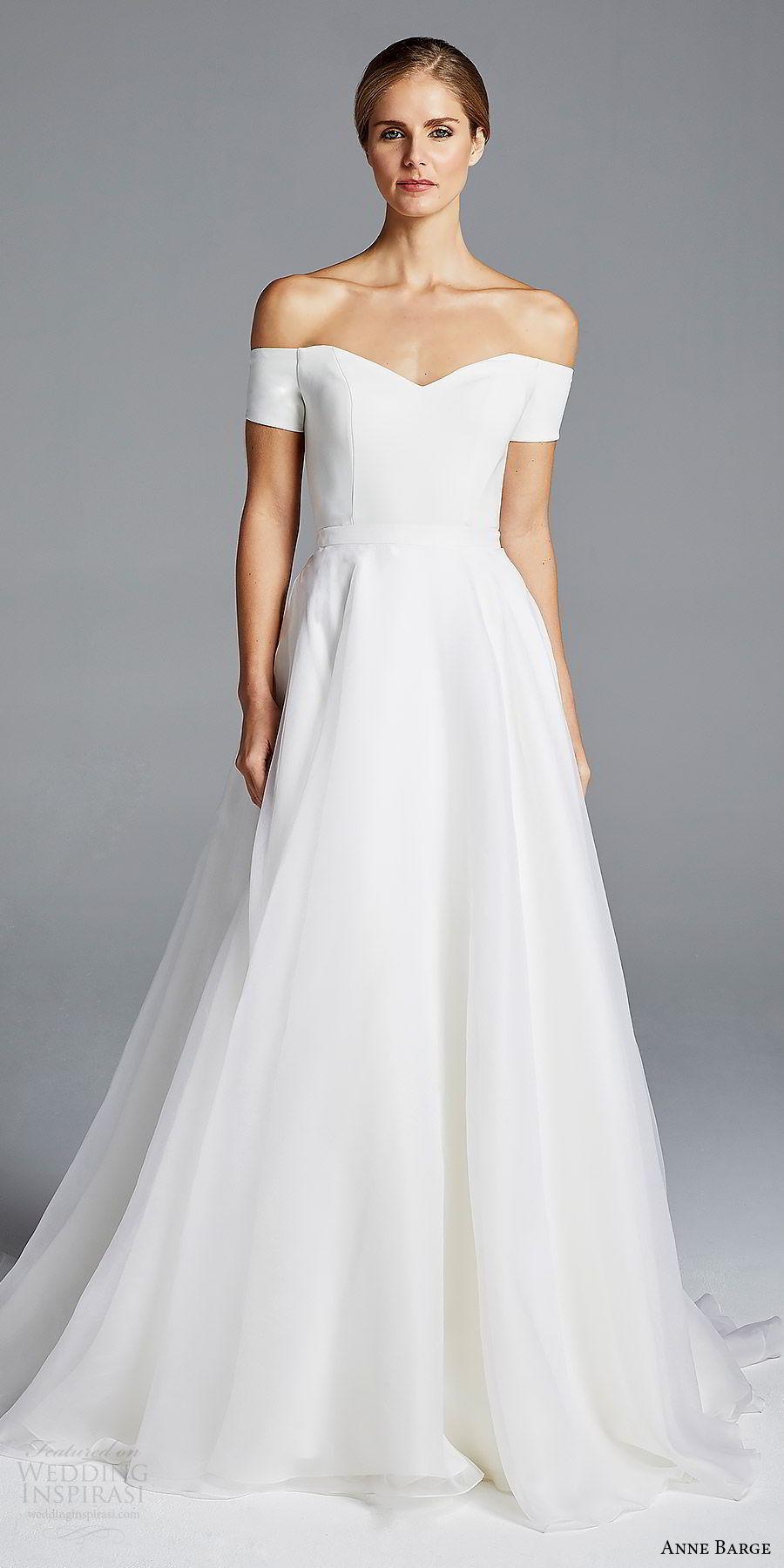 anne barge bridal spring 2019 off shoulder short sleeves sweetheart neckline minimally embellished sheath wedding dress a line overskirt (jolie) mv chic modern elegant