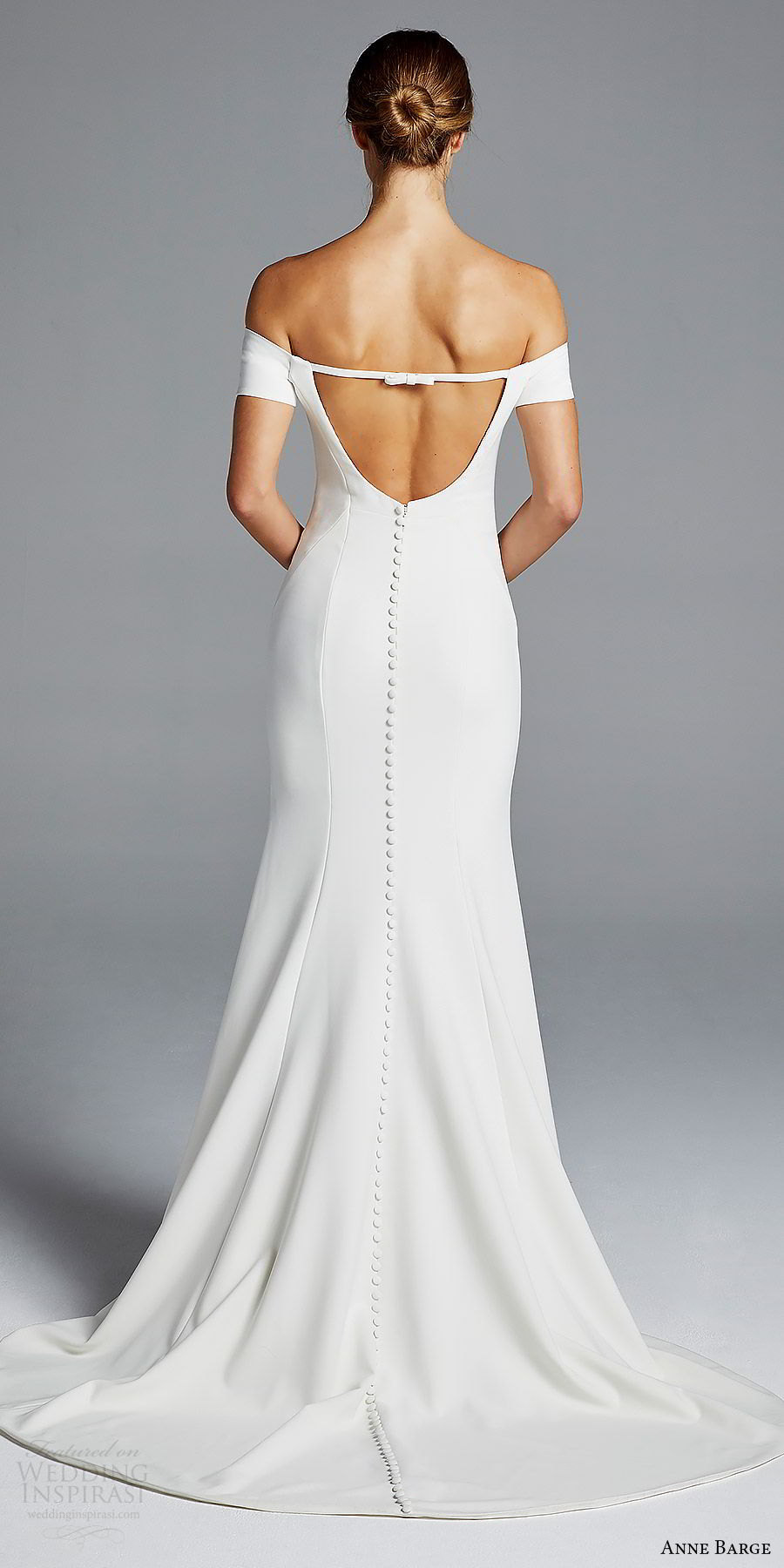 anne barge bridal spring 2019 off shoulder short sleeves sweetheart neckline minimally embellished sheath wedding dress (jolie) bv chic modern elegant