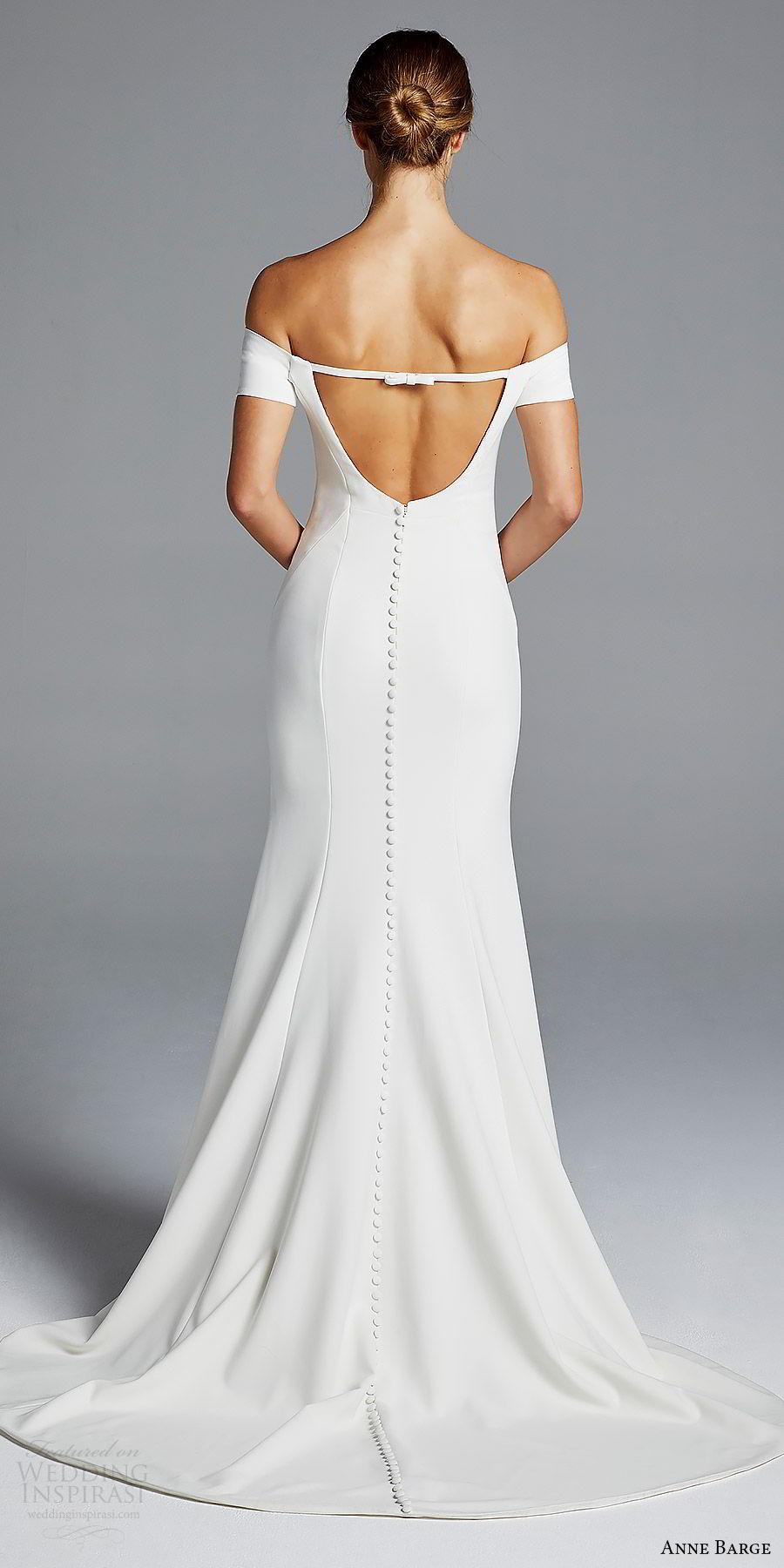 anne barge bridal spring 2019 off shoulder short sleeves sweetheart neckline minimally embellished sheath wedding dress (jolie) bv chic modern elegant