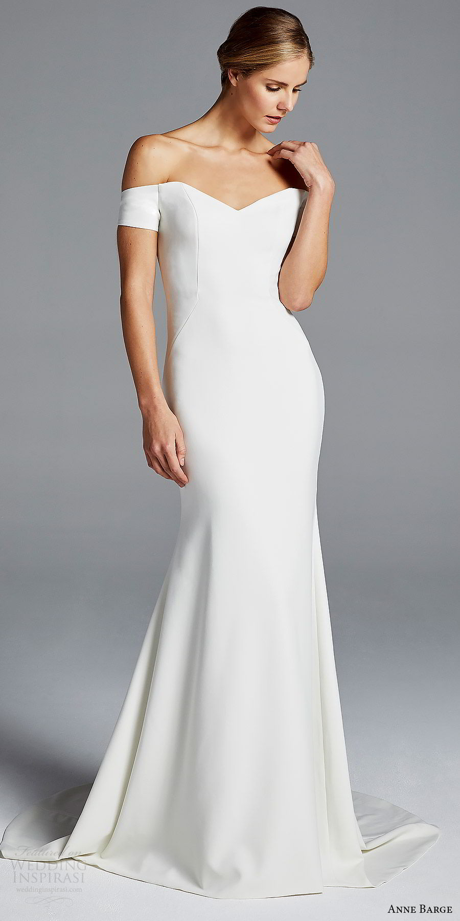 anne barge bridal spring 2019 off shoulder short sleeves sweetheart neckline minimally embellished sheath wedding dress (jolie) mv chic modern elegant