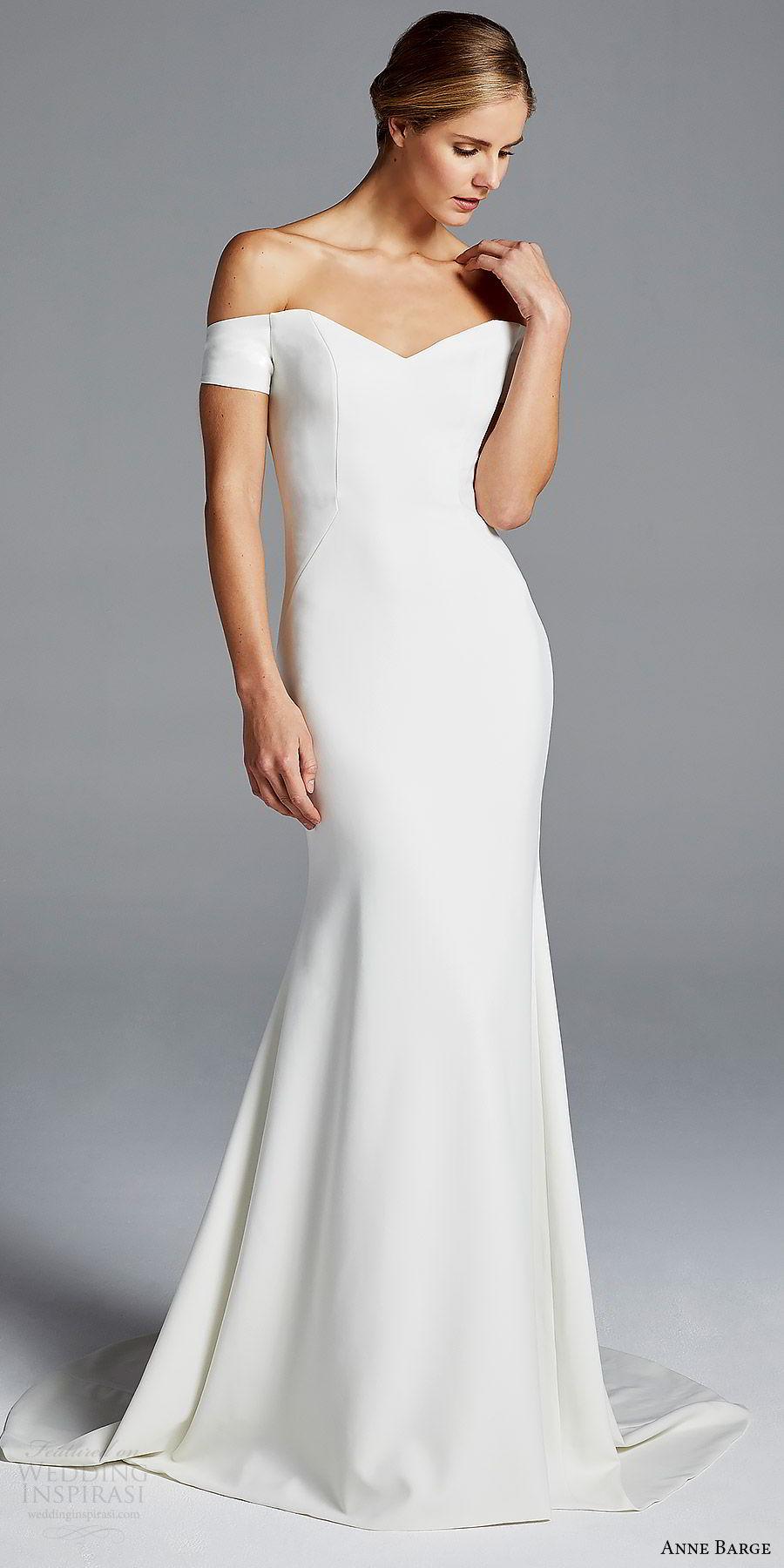 anne barge bridal spring 2019 off shoulder short sleeves sweetheart neckline minimally embellished sheath wedding dress (jolie) mv chic modern elegant