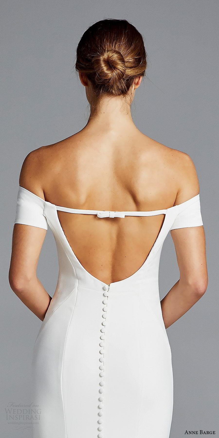 anne barge bridal spring 2019 off shoulder short sleeves sweetheart neckline minimally embellished sheath wedding dress (jolie) zbv chic modern elegant