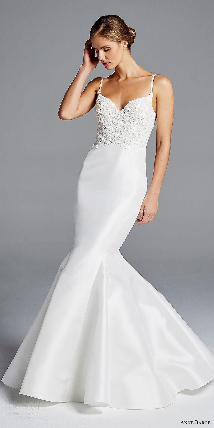 anne barge bridal spring 2019 sleeveless straps sweetheart lace bodice mermaid wedding dress (iman) mv scoop back modern elegant
