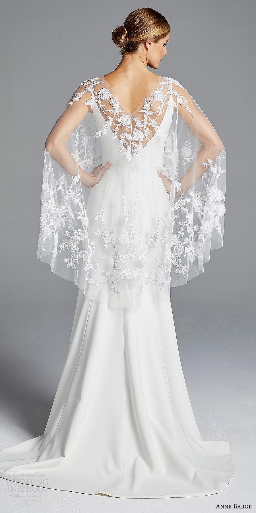 anne barge bridal spring 2019 sleeveless straps v neck sheer capelete sheath wedding dress (elle) bv sweep train boho chic romantic