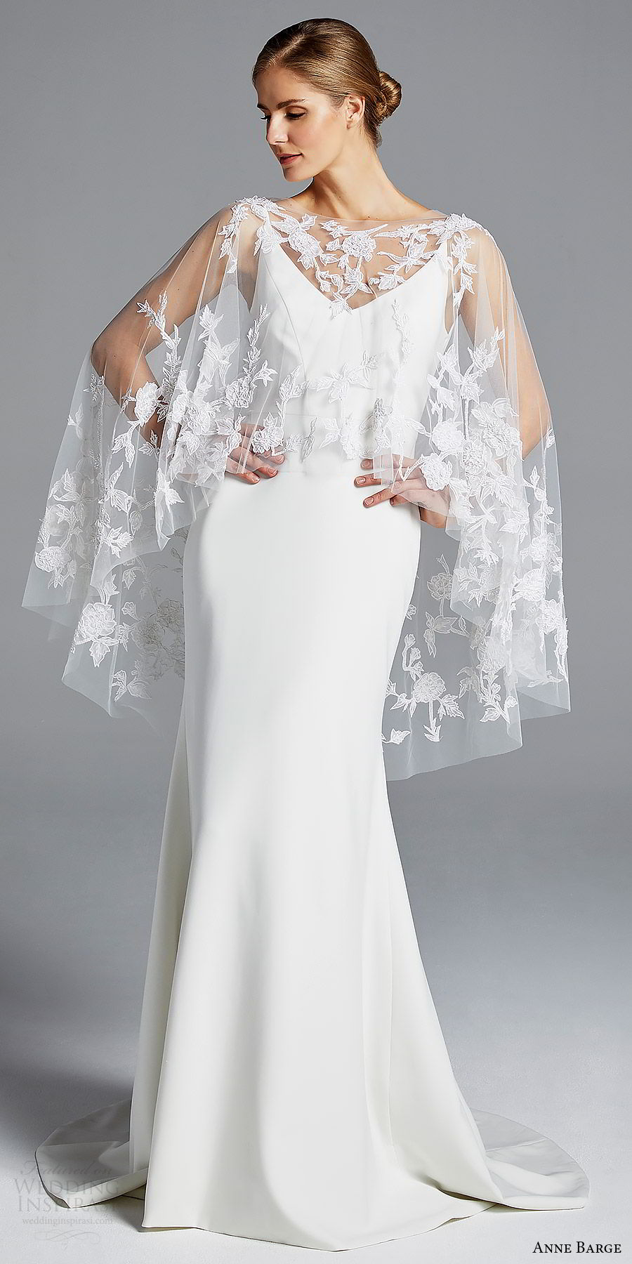 anne barge bridal spring 2019 sleeveless straps v neck sheer capelete sheath wedding dress (elle) mv sweep train boho chic romantic