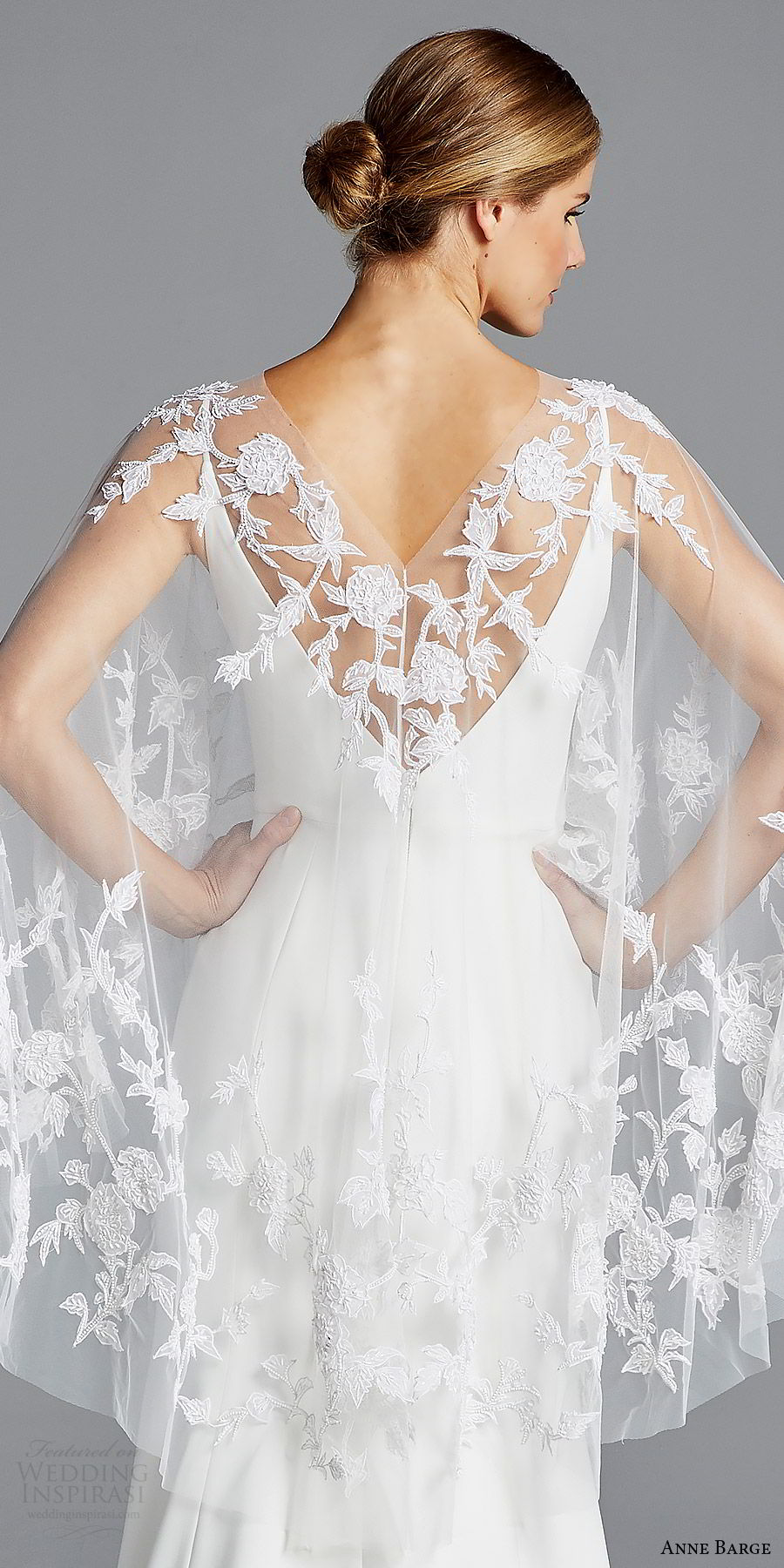anne barge bridal spring 2019 sleeveless straps v neck sheer capelete sheath wedding dress (elle) zbv sweep train boho chic romantic
