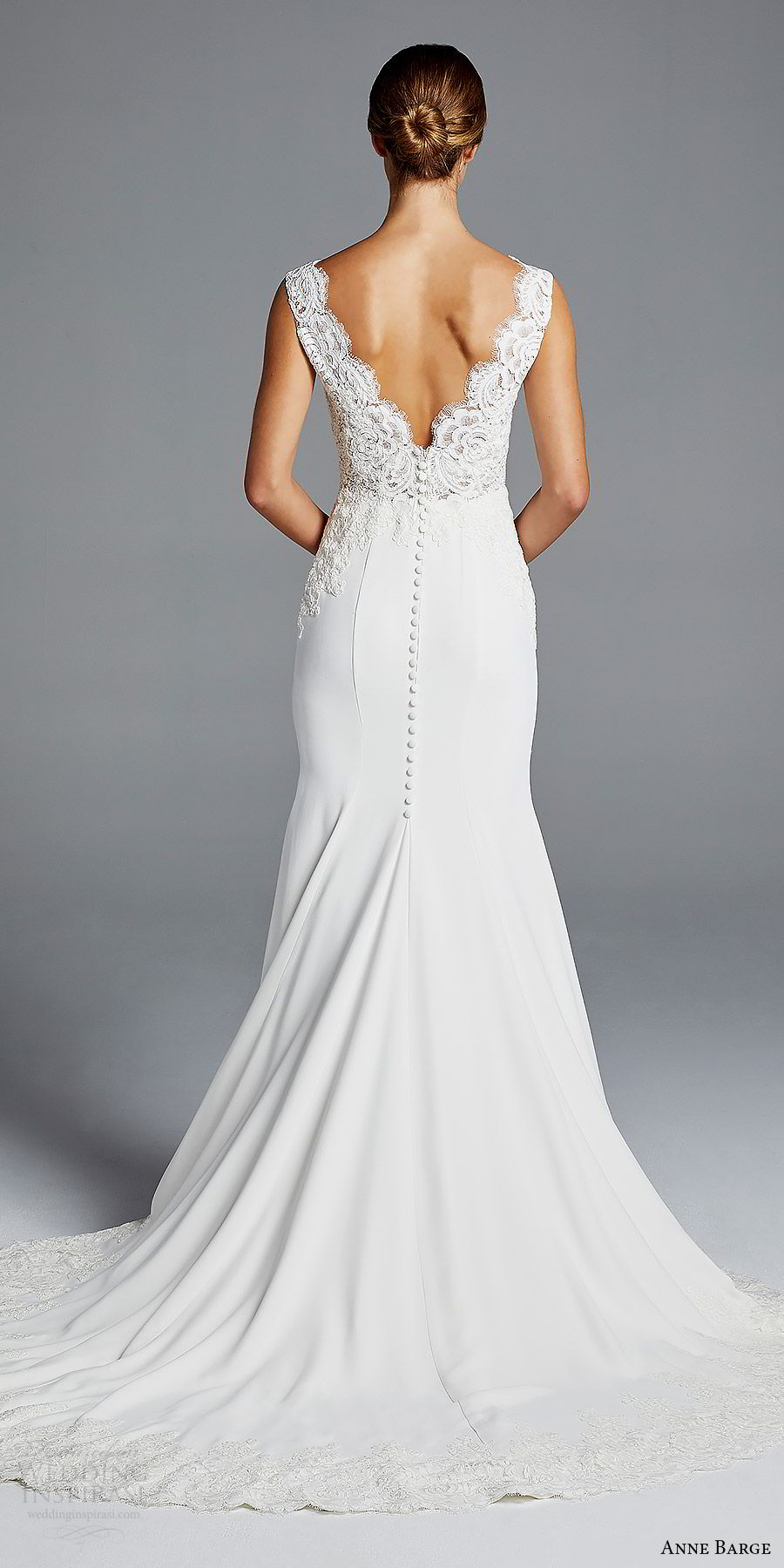 anne barge bridal spring 2019 sleeveless thick lace straps deep v neck embellished bodice sheath wedding dress (lana) bv v back chapel train chic elegant