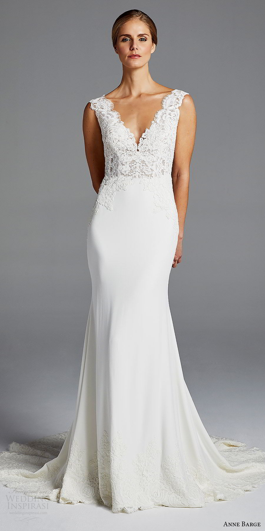 anne barge bridal spring 2019 sleeveless thick lace straps deep v neck embellished bodice sheath wedding dress (lana) mv chic elegant