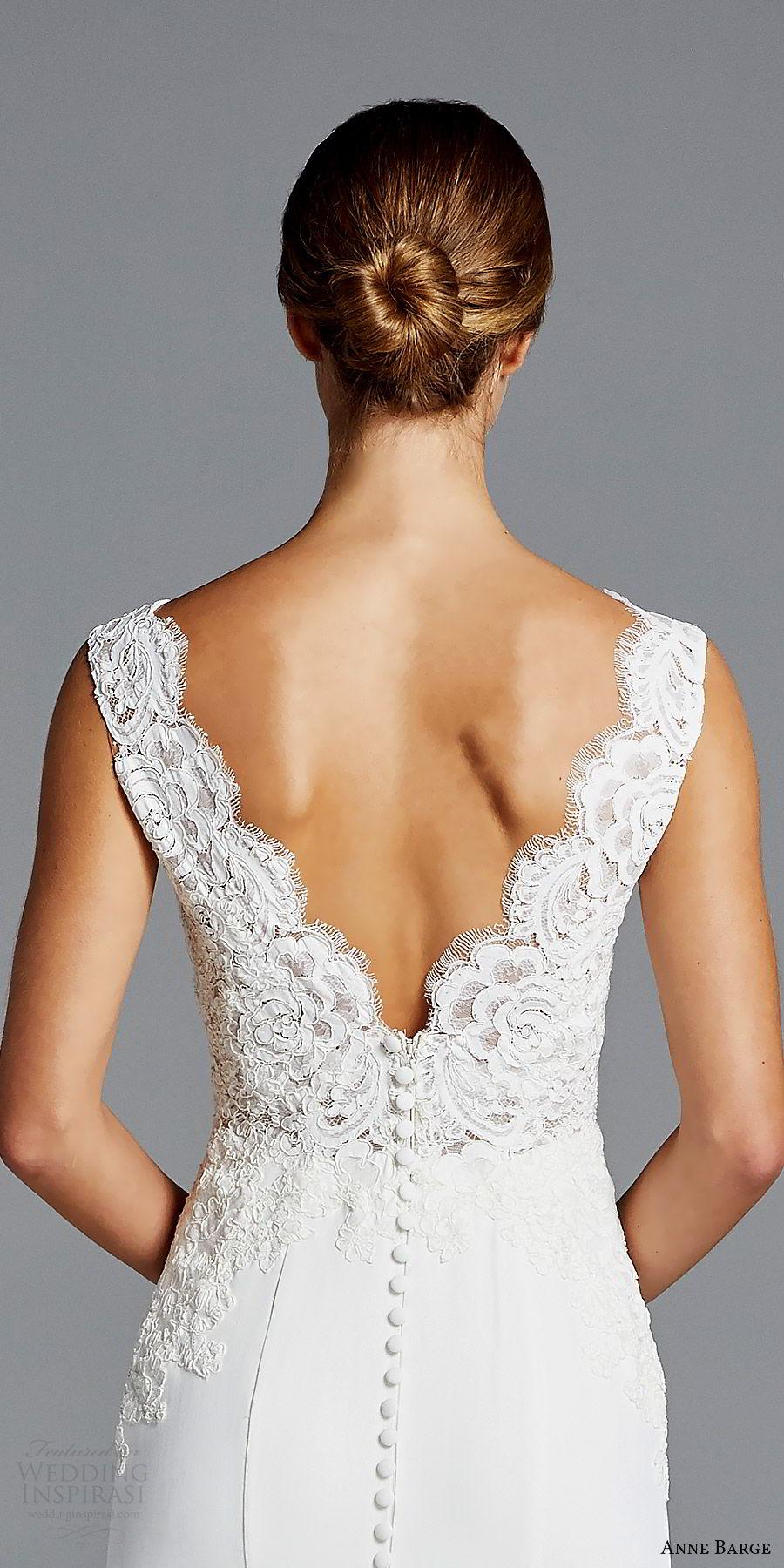 anne barge bridal spring 2019 sleeveless thick lace straps deep v neck embellished bodice sheath wedding dress (lana) zbv v back chapel train chic elegant