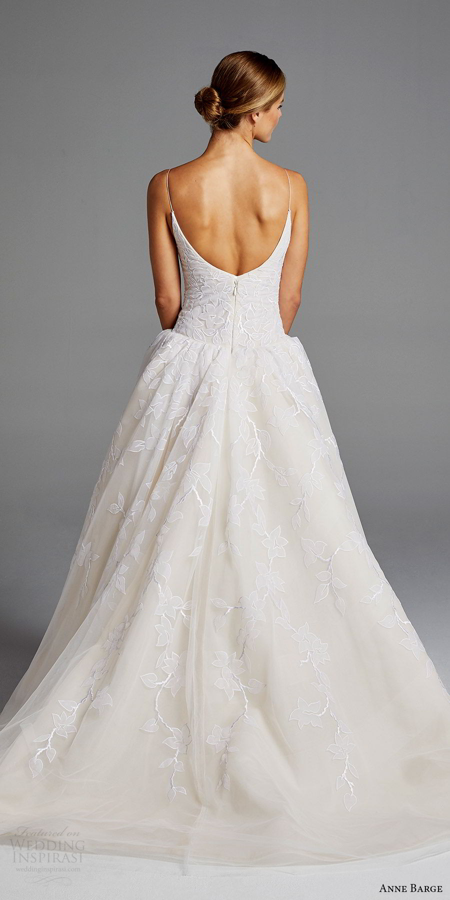 anne barge bridal spring 2019 sleeveless thin straps sweetheart drop waist lace ball gown wedding dress (maggie) bv scoop back romantic elegant