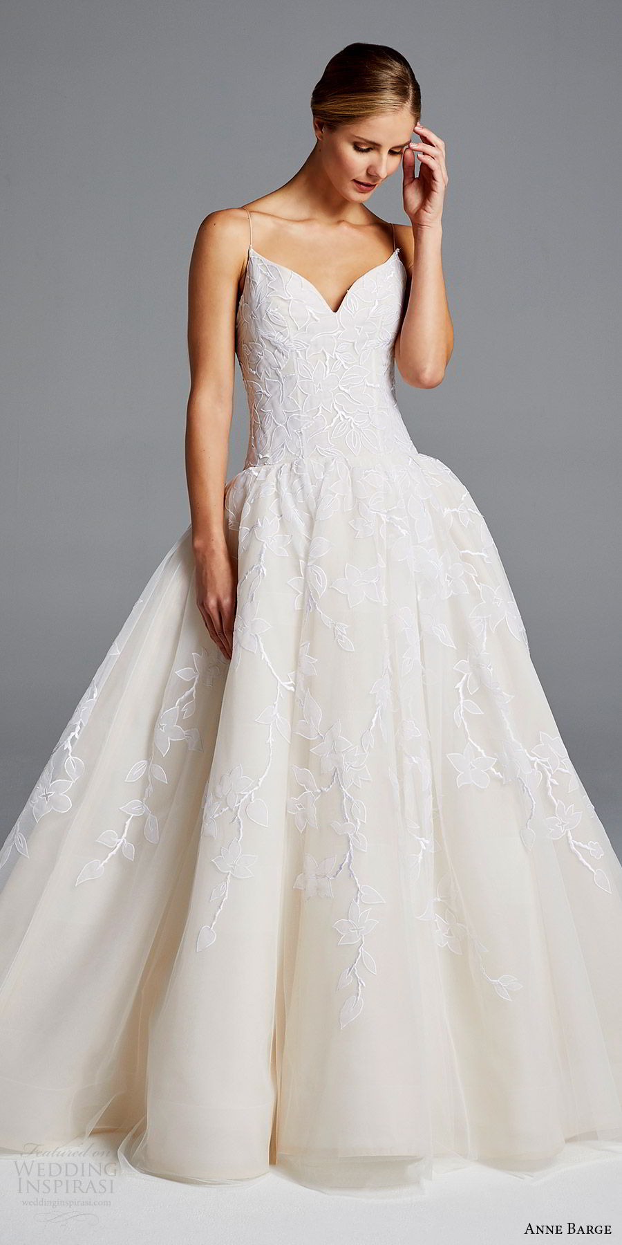 anne barge bridal spring 2019 sleeveless thin straps sweetheart drop waist lace ball gown wedding dress (maggie) mv romantic elegant