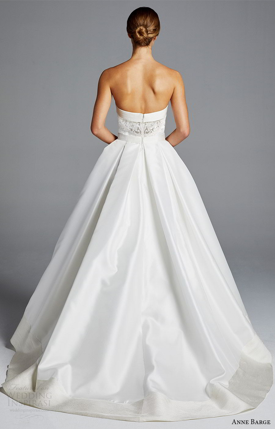 anne barge bridal spring 2019 strapless straigh across a line minimally embellished ball gown wedding dress (hutton) bv sweep train chic elegant