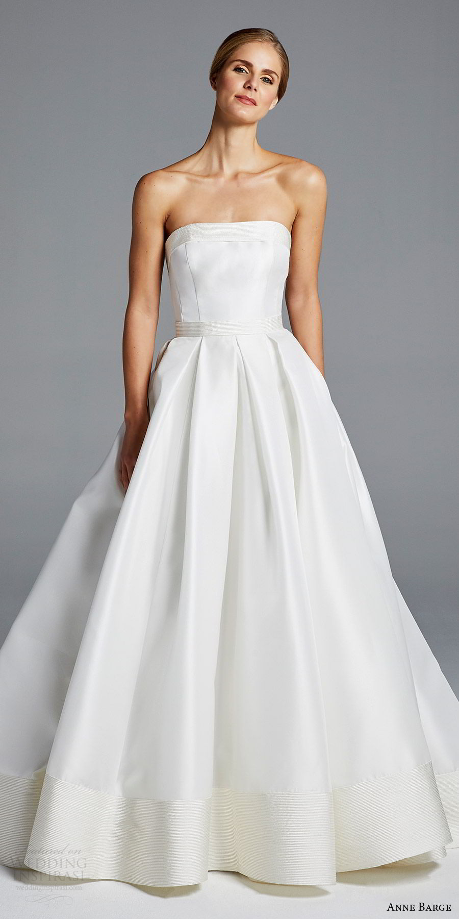 anne barge bridal spring 2019 strapless straigh across a line minimally embellished ball gown wedding dress (hutton) mv chic elegant