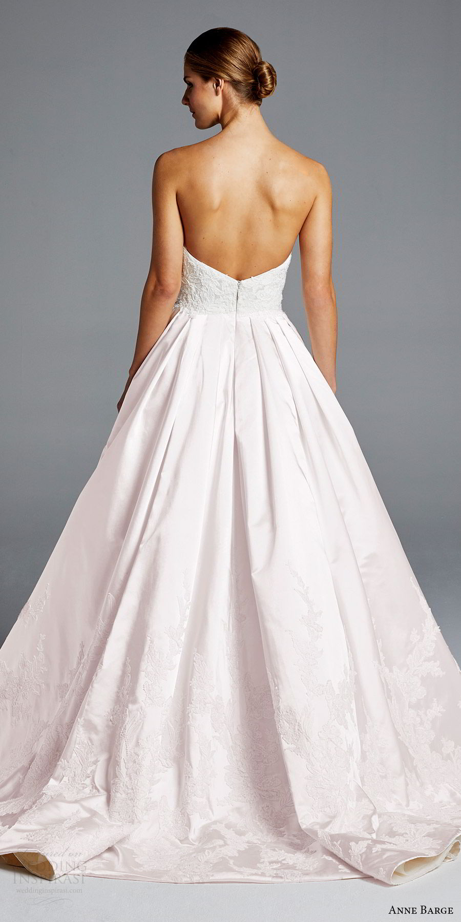 anne barge bridal spring 2019 strapless straigh across lace bodice a line wedding dress (michelle) bv low back chapel train blush color princess romantic
