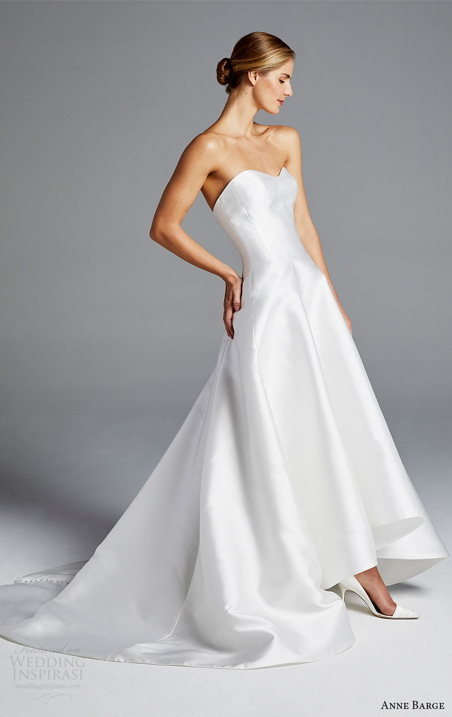 anne barge bridal spring 2019 strapless sweetheart clean a line high low wedding dress (mindy) mv modern chic