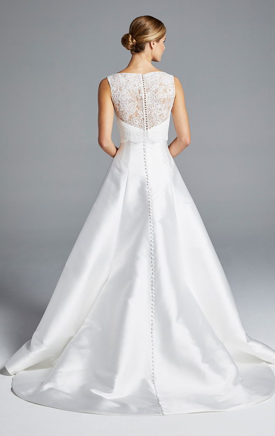 anne barge bridal spring 2019 strapless sweetheart clean a line high low wedding dress sleeveless lace top bateau neck (mindy) bv modern chic