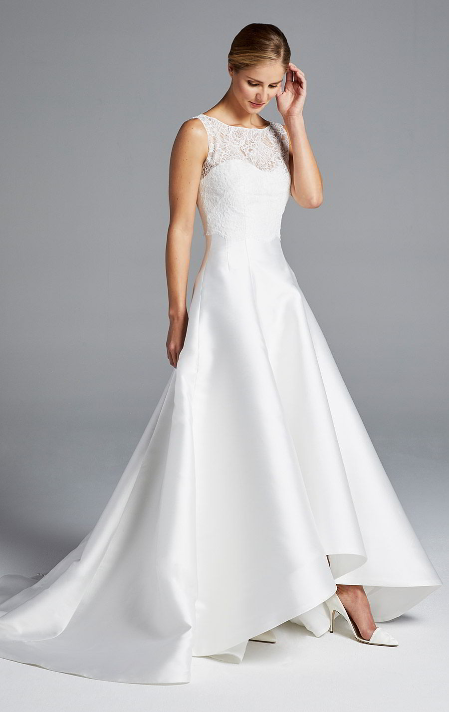anne barge bridal spring 2019 strapless sweetheart clean a line high low wedding dress sleeveless lace top bateau neck (mindy) mv modern chic