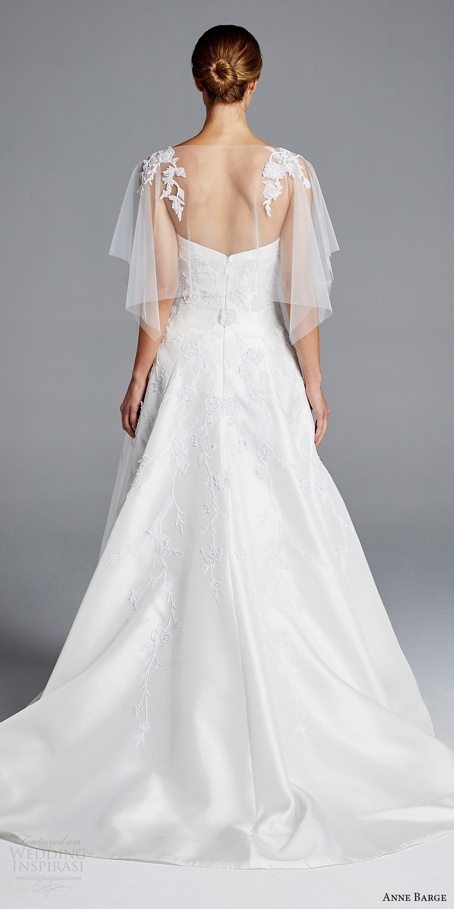 anne barge bridal spring 2019 strapless sweetheart lace bodice sheer capelete a line wedding dress (chloe) bv boho romantic