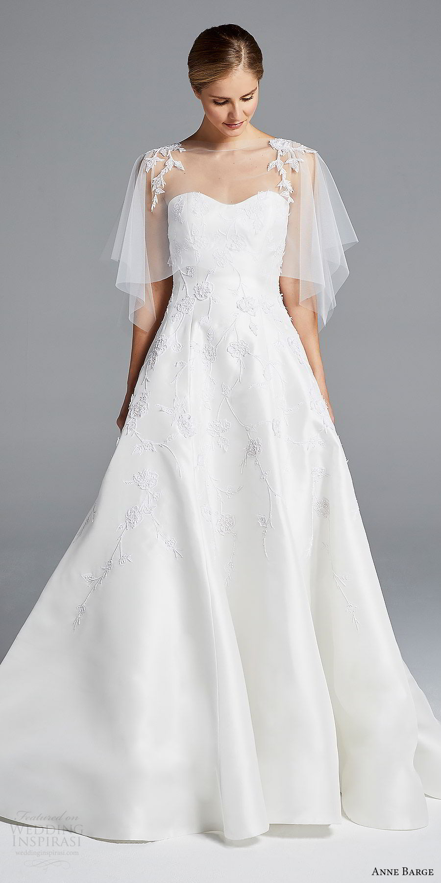 anne barge bridal spring 2019 strapless sweetheart lace bodice sheer capelete a line wedding dress (chloe) mv boho romantic