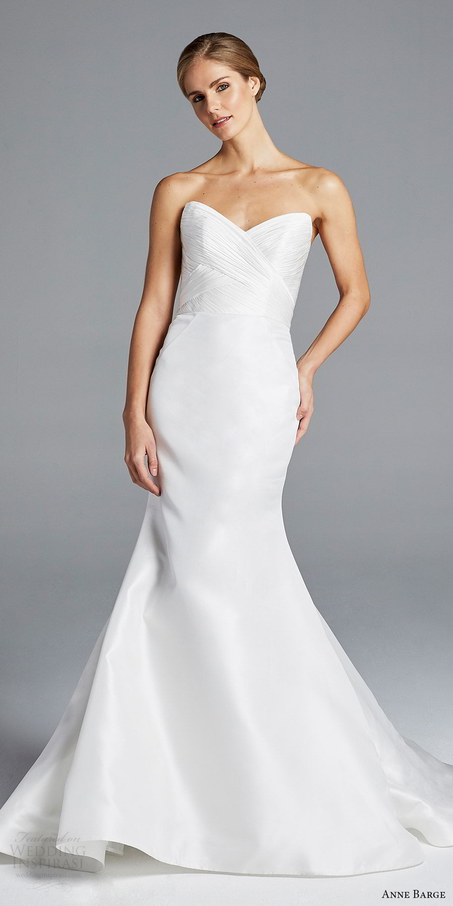 anne barge bridal spring 2019 strapless sweetheart ruched bodice mermaid wedding dress (amal) mv romantic elegant