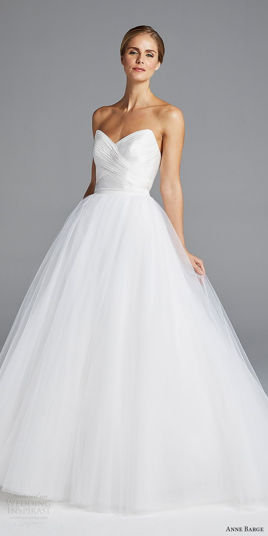 anne barge bridal spring 2019 strapless sweetheart ruched bodice mermaid wedding dress ball gown overskirt (amal) mv romantic elegant